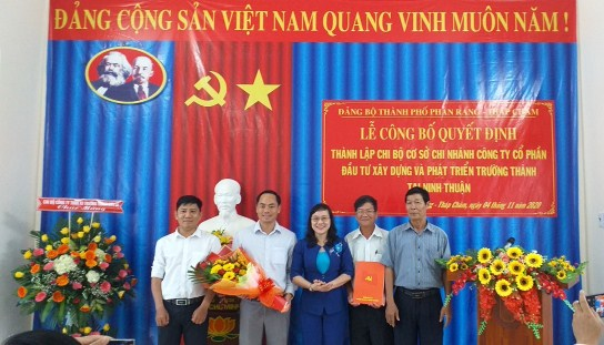 Lễ công bố Quyết định thành lập chi bộ chi nhánh công ty Trường Thành tại Ninh Thuận